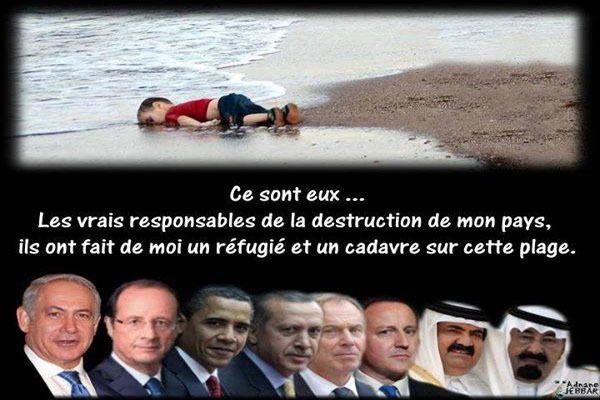 Estos son los verdaderos responsables de la destrucción de mi país, han hecho de mí un refugiado y cadáver sobre esta playa (foto tomada de la página web partiantisioniste).
