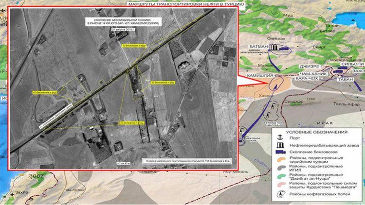 Ataque de la Fuerza Aérea de Rusia contra un depósito de petróleo en la zona de Maarat an Numan (Siria). / Ministerio de Defensa ruso