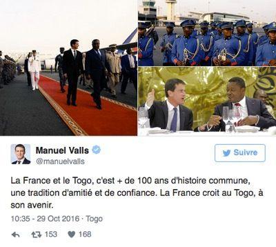 Según la oposición togolesa, el presidente de Togo habría entregado dinero para la campaña presidencia de Manuel Valls, ex primer ministro del gobierno socialista francés