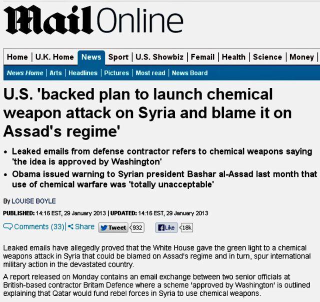 El  Daily Mail retira un artículo sobre el plan de Les Estados Unidos de organizar un ataque químico en Siria y culpar al régimen del Assad