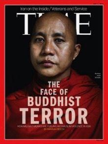 Desde 2013, los medios de difusión occidentales vienen presentando el budismo bajo una imagen sectaria. En esta portada de la revista Time, aparece el monje Ashin Wirathu. Condenado en 2003 a 25 años de cárcel debido a su prédica antimusulmana, estuvo entre los beneficiarios de la amnistía general decretada en 2012. El hecho es que hay fanáticos en todas las religiones.