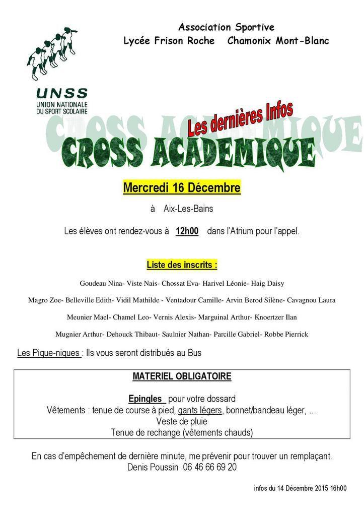 Cross Unss Académique: les dernières infos