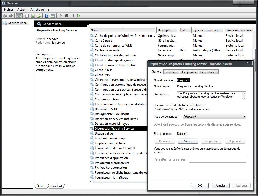 Désactiver le nouveau mouchard de Windows.