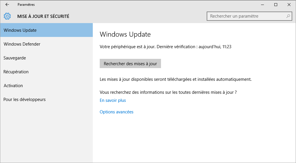 Réinitialiser le Windows Update de Windows 10.