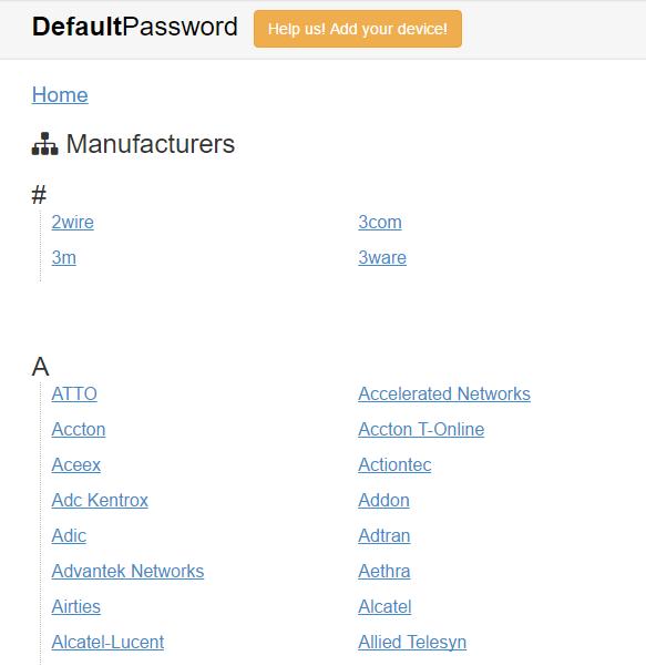Un site pour retrouver les mots de passe constructeurs : DefautlPassword