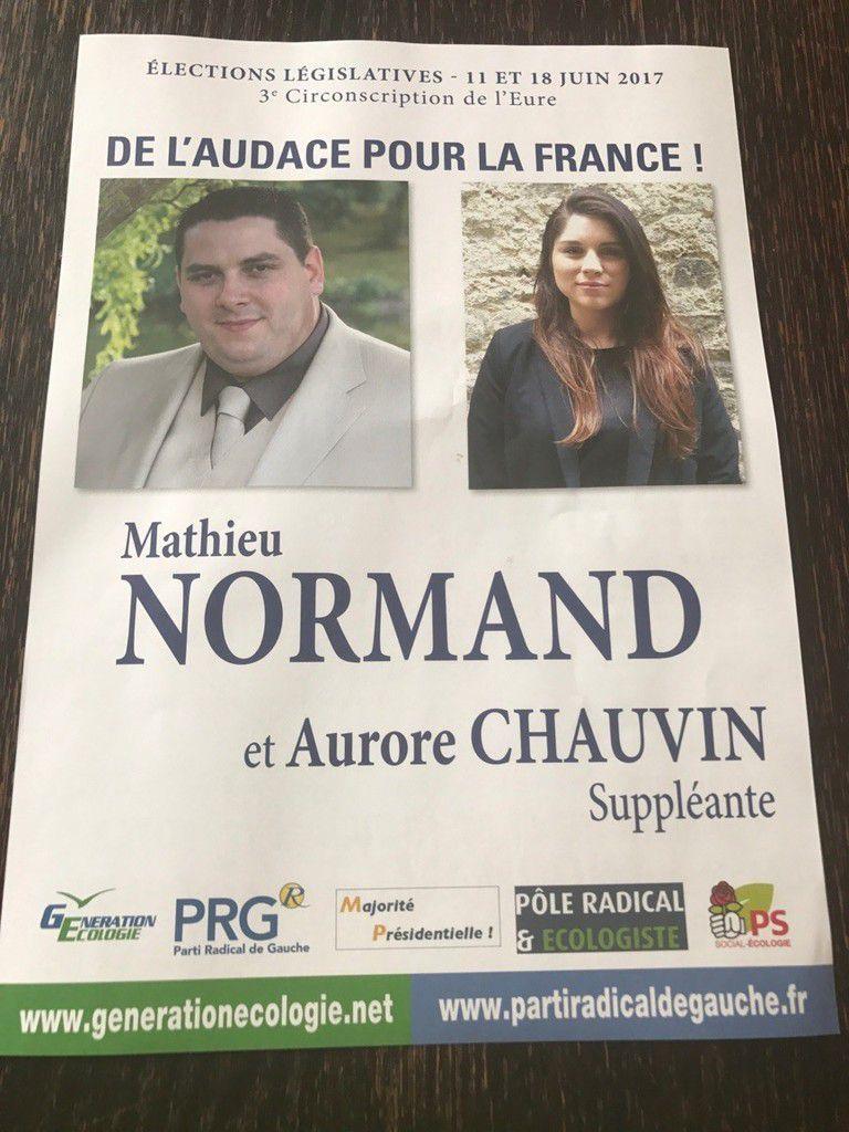 Mathieu NORMAND, candidat GE-PRG-PS et Aurore CHAUVIN, suppléante