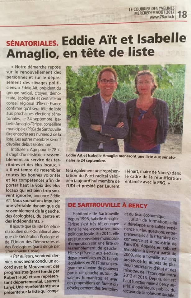 Génération Ecologie soutient la liste conduite par Eddie Aït dans les Yvelines