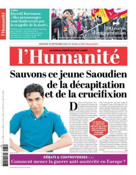 Pour Ali Mohammed, opposant saoudien menacé de décapitation et de crucifixion (L'Humanité)