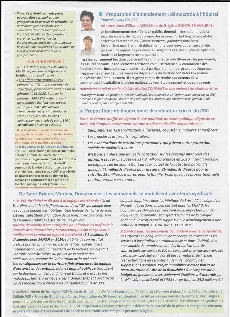 Le PCF distribue son journal santé, le Globule Rouge, analysant les conséquences néfastes de la loi santé de Marisol Touraine, aux salariés et aux patients des hôpitaux de Morlaix et Plougonven