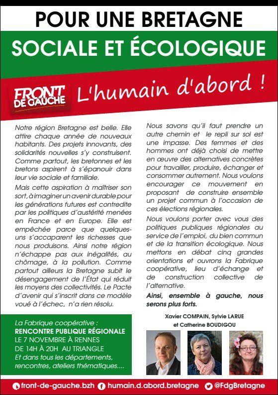 Pour une Bretagne sociale et écologique, l'Humain d'abord! Le pré-projet du Front de Gauche pour les Elections régionales, à enrichir avec les citoyens
