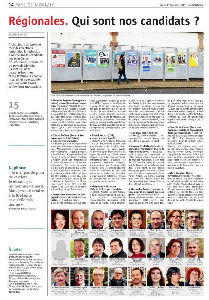 Les candidats aux régionales de la région de Morlaix: interview de Camille Glidic Le Calvez, candidate du Front de Gauche avec François Rippe et Jeremy Lainé