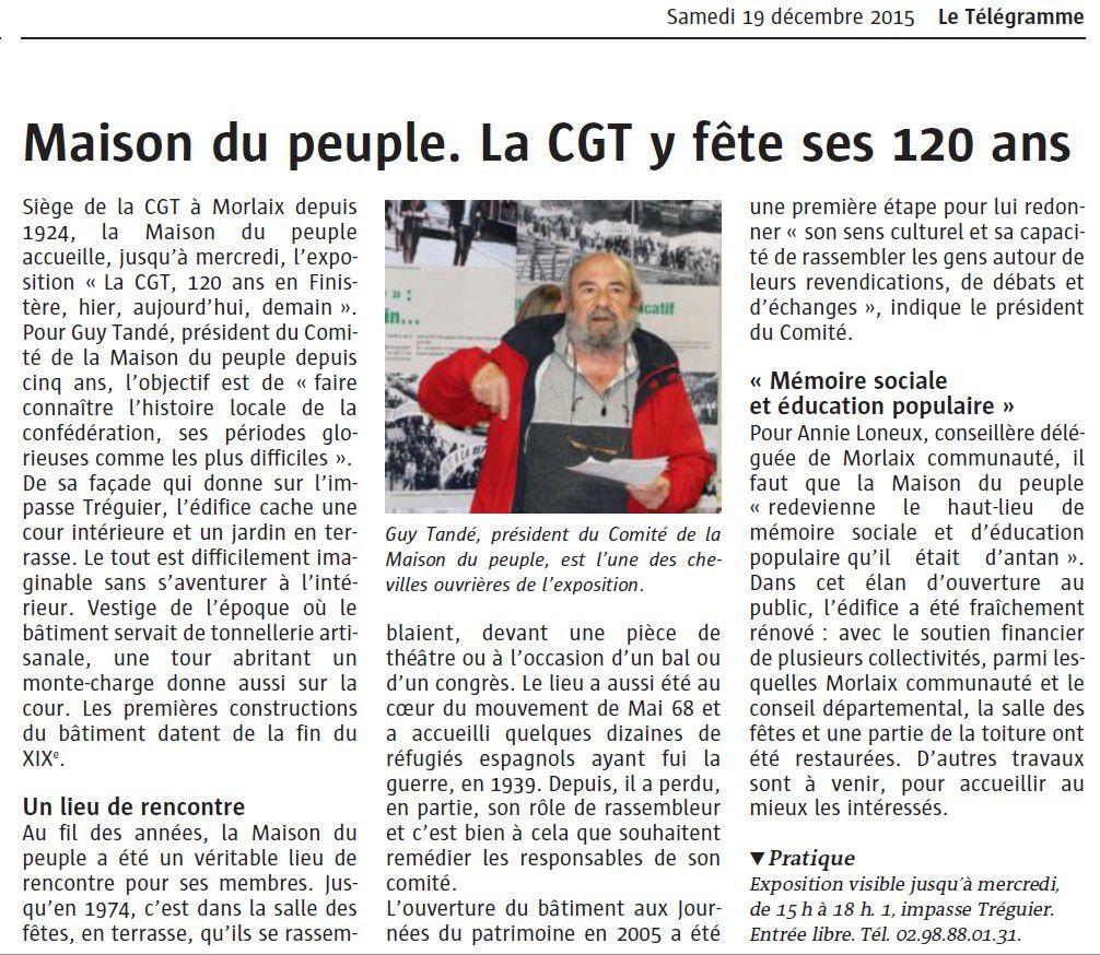 LA CGT fête ses 120 ans à la Maison du Peuple (Le Télégramme)