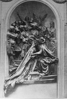 """Monument de l'Union de la Bretagne et de la France, sculpture de Jean Boucher (1911) détruite en 1932 par """"Gwenn ha Du"""""""