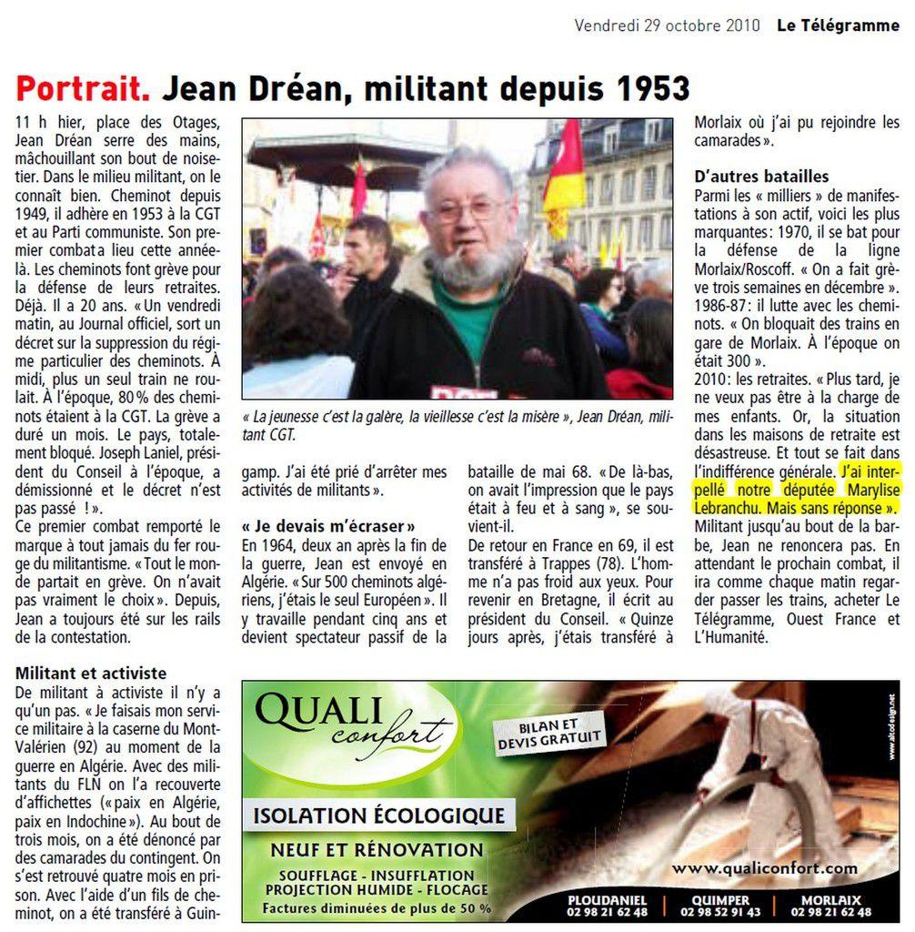 archives, Le Télégramme: 29 octobre 2010: portrait de Jean Dréan