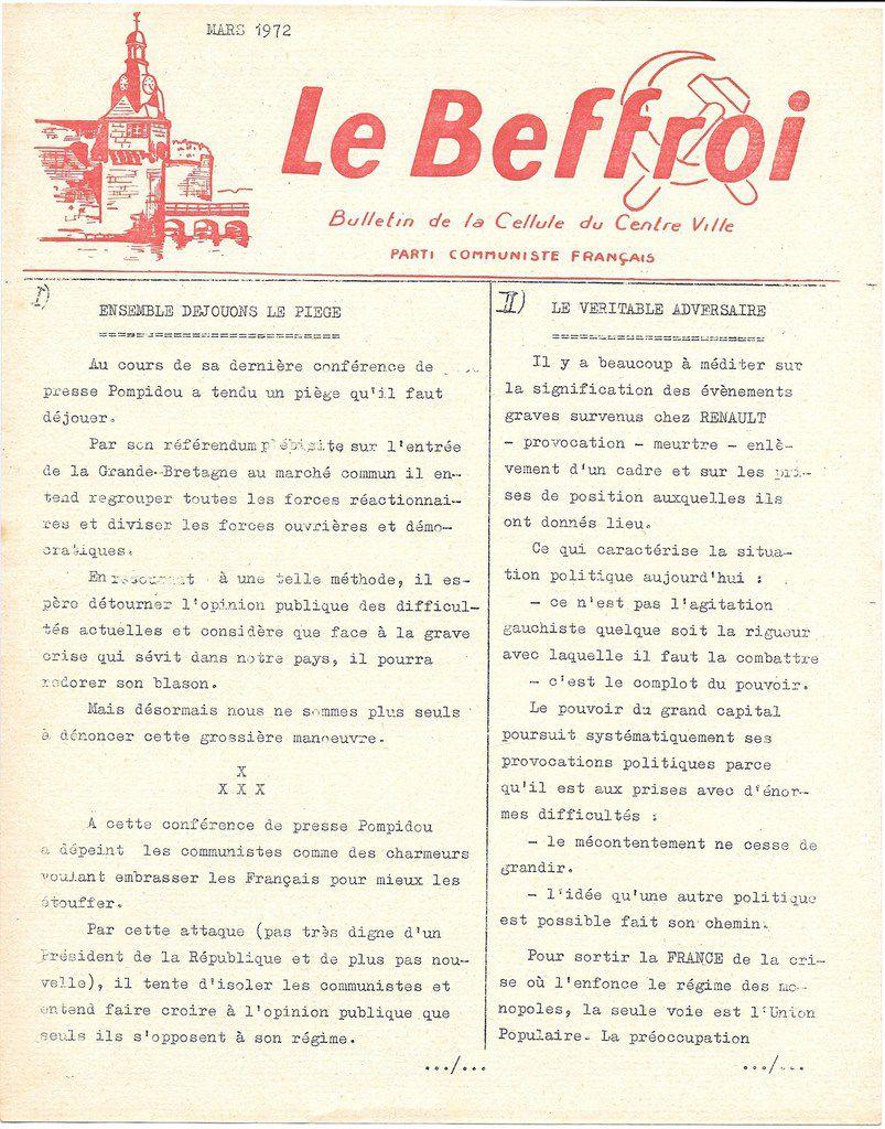 Le Beffroi, mars 1972: bulletin de la cellule du centre-ville de Concarneau (Archives Pierre Le Rose)