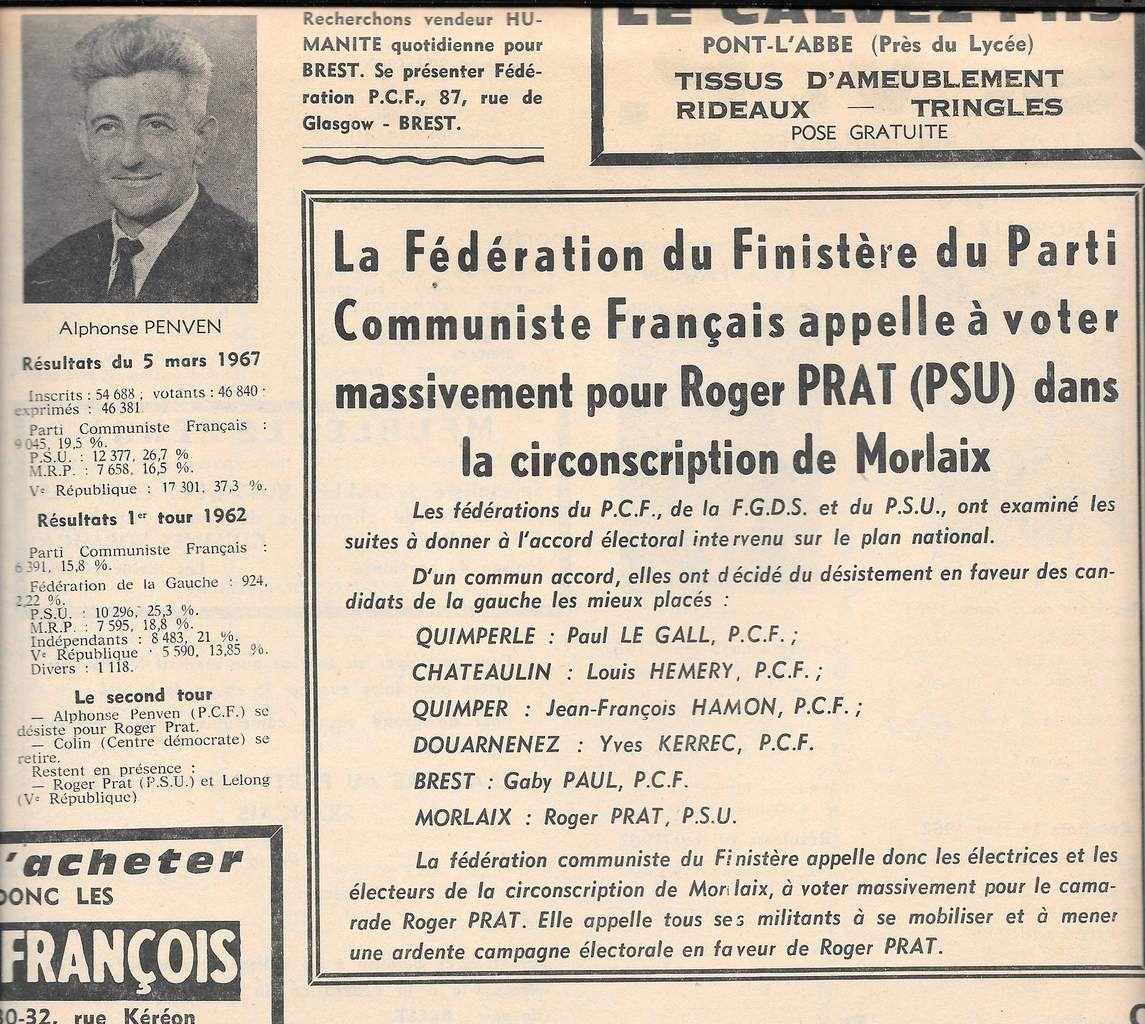 """Législatives mars 1967: résultats d'Alphonse Penven et appel du PCF à voter pour le candidat PSU Roger Prat (""""Notre Finistère"""", 12 mars 1967)"""