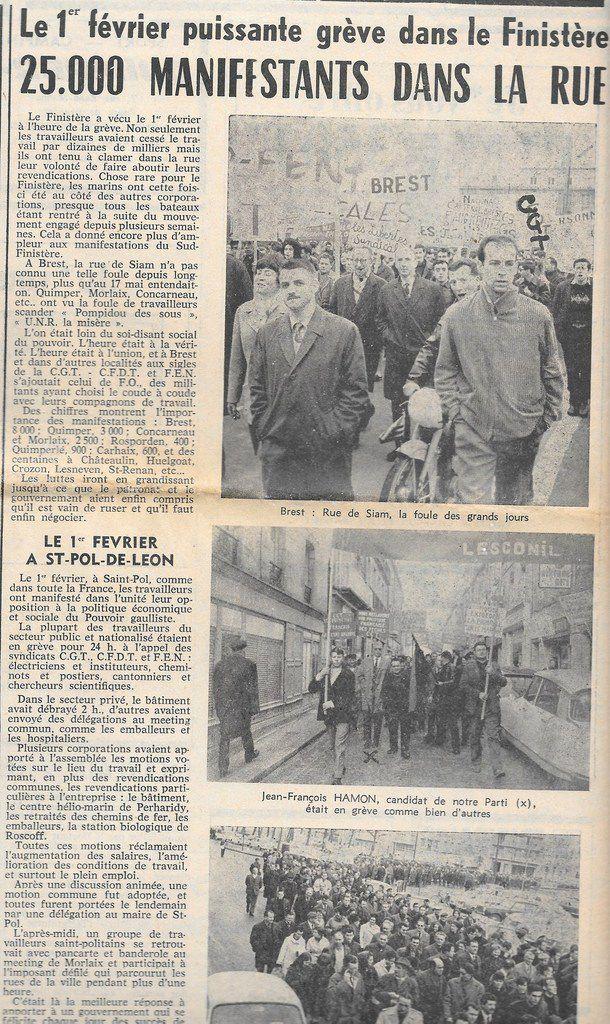 """""""Pompidou, des sous!"""", """"U.N.R: la misère"""": puissante grève du 1er février 1967 dans le Finistère avec 25 000 manifestants dans la rue (supplément """"Notre Finistère"""" à L'Huma Dimanche, 12 février 1967)"""