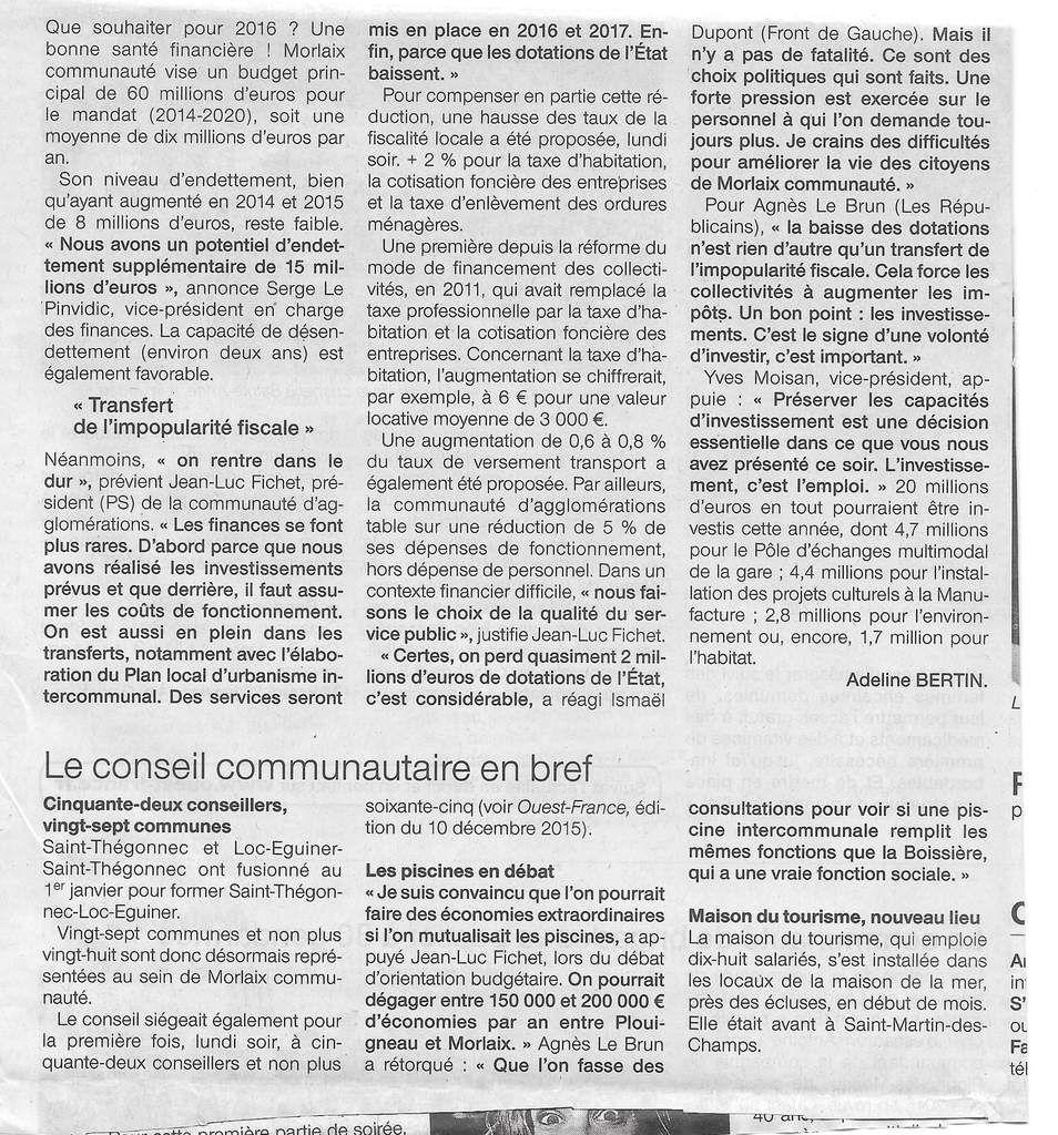 Conseil Communautaire de Morlaix du 25 janvier 2016: revue de presse