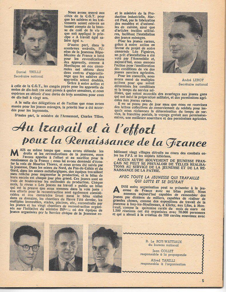 Au travail et à l'effort pour la Renaissance de la France: avec Daniel Trellu et André Le Roy, secrétaire nationaux de l'Union de la Jeunesse Républicaine de France