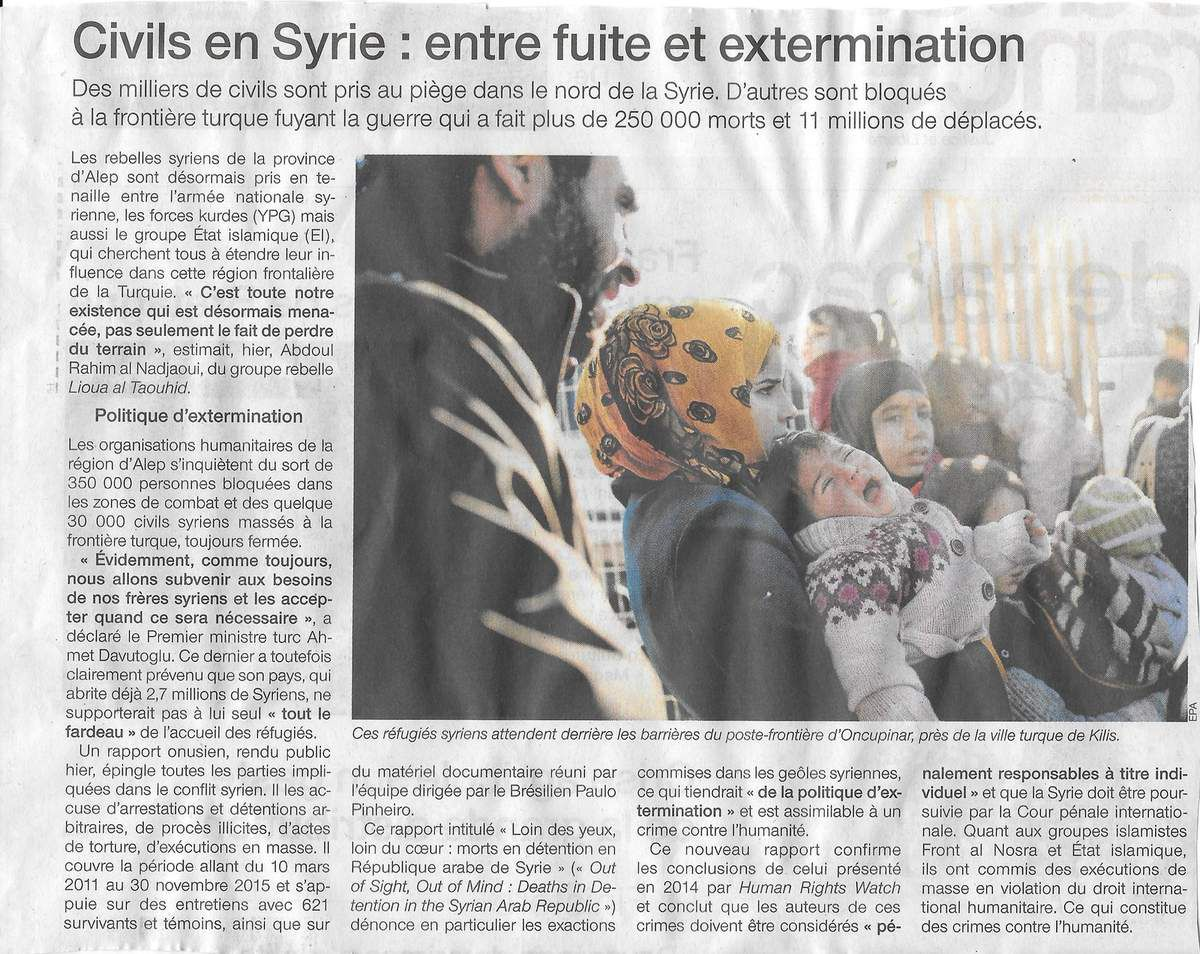 Ouest-France, 9 février 2016: civils en Syrie, entre fuite et extermination