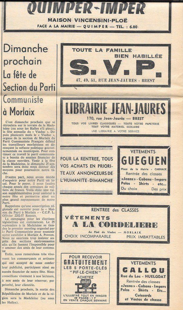 """Le PCF Morlaix organise sa deuxième fête du 1er Mai à la Madeleine (ou sous les Halles s'il pleut...): """"Notre Finistère"""" (supplément à l'Humanité Dimanche) -18 septembre 1966"""