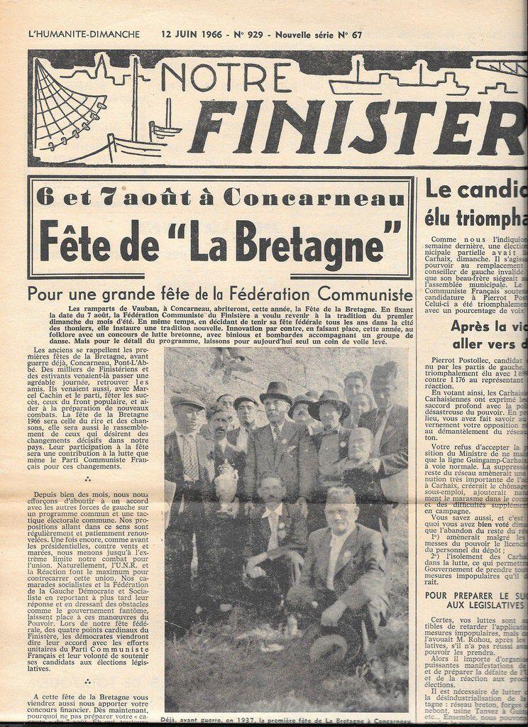 """""""Notre Finistère"""" du 12 juin 1966: photos de Marcel Cachin à la fête de la Bretagne à Concarneau en 1937"""