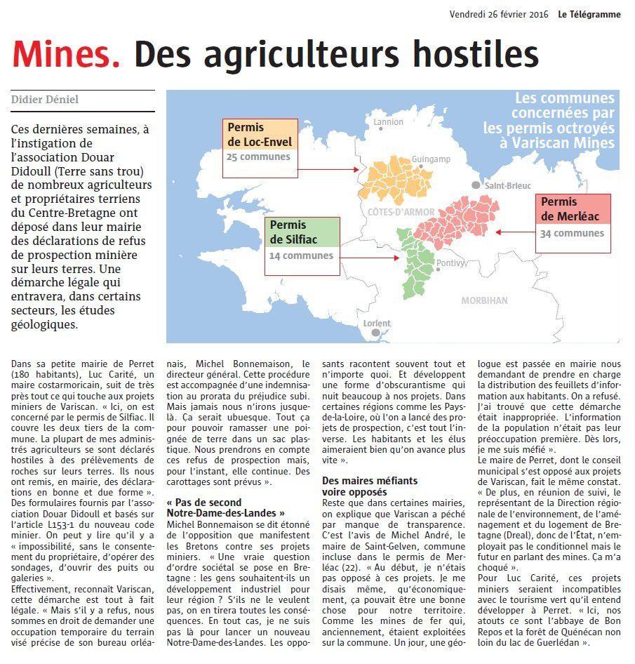Mines de Bretagne: des agriculteurs hostiles (Le Télégramme)