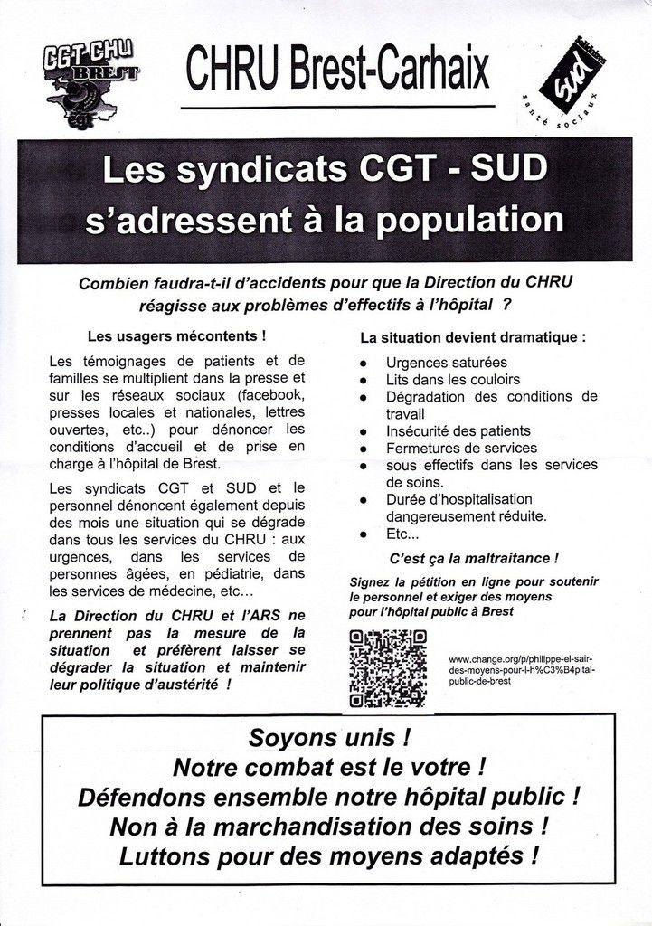 BREST: mouvement au CHRU de la CGT et de SUD