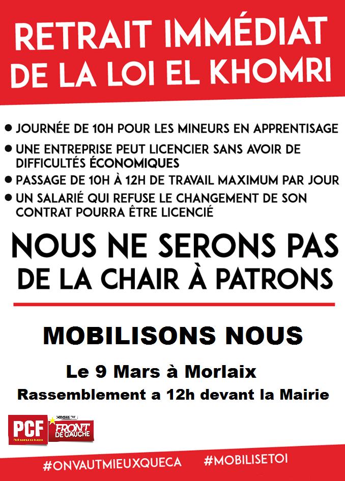 Contre l'assassinat du code du travail, le 9 mars, mobilisons-nous à Morlaix contre la loi El Khomri