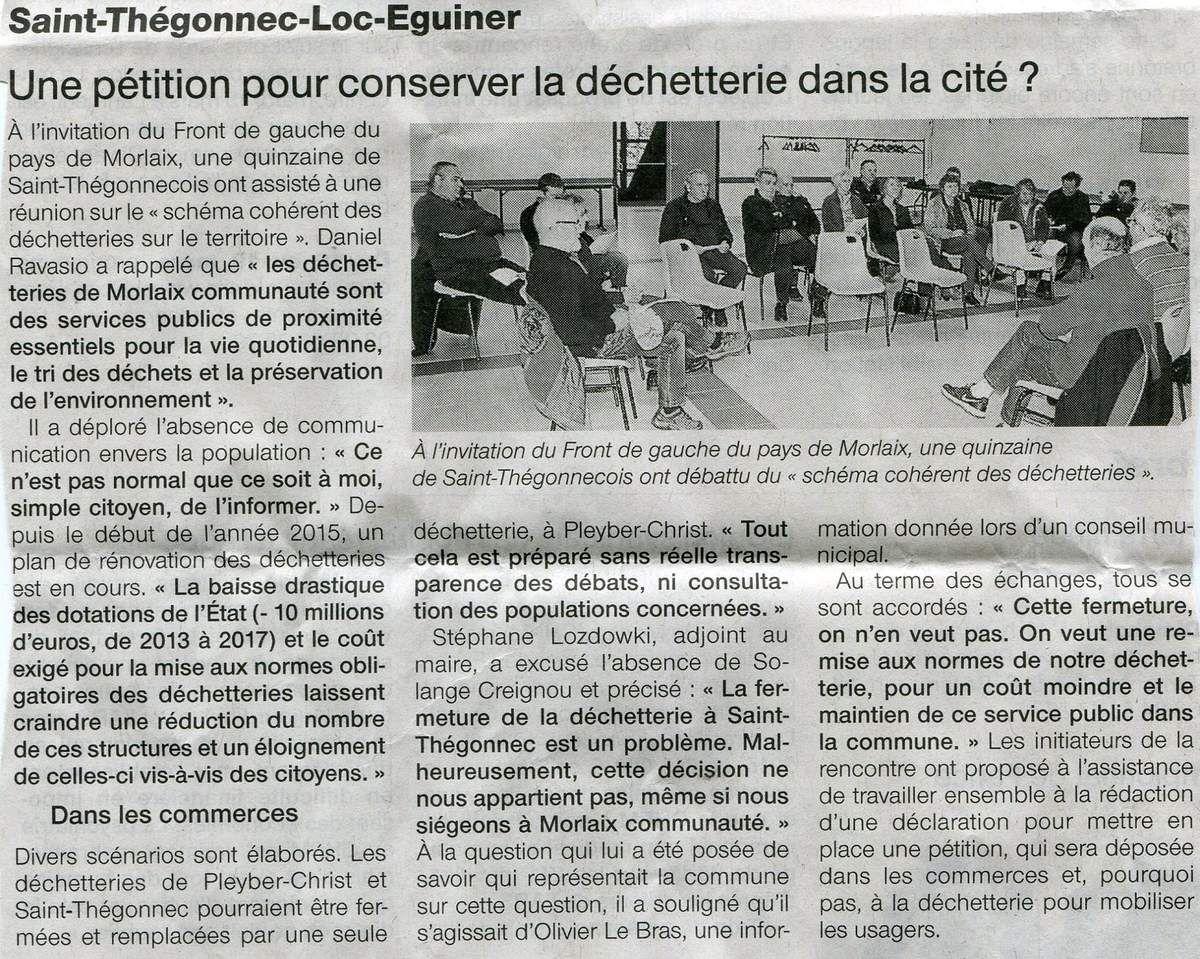 NON à la fermeture de la déchetterie de SAINT THEGONNEC – LOC EGUINER.