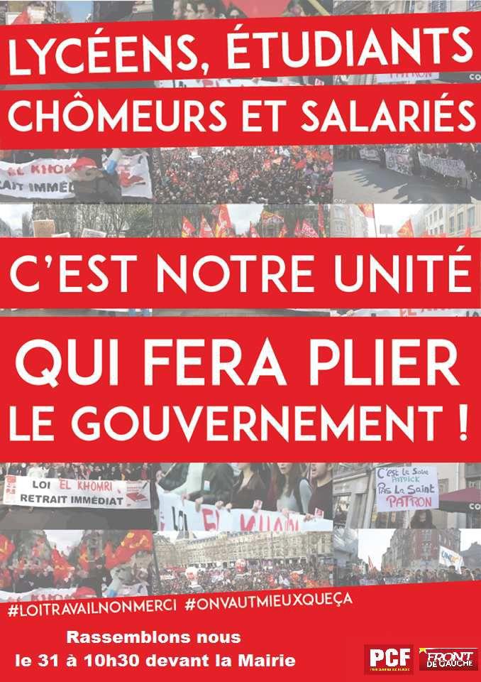Mobilisation générale pour le 31 mars à Morlaix: exigeons le retrait de la loi El Khomri