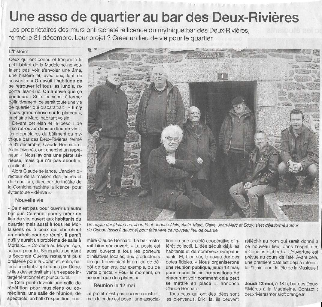 """""""Une asso de quartier au bar des Deux Rivières"""" - Ouest France, 4 mai 2016"""