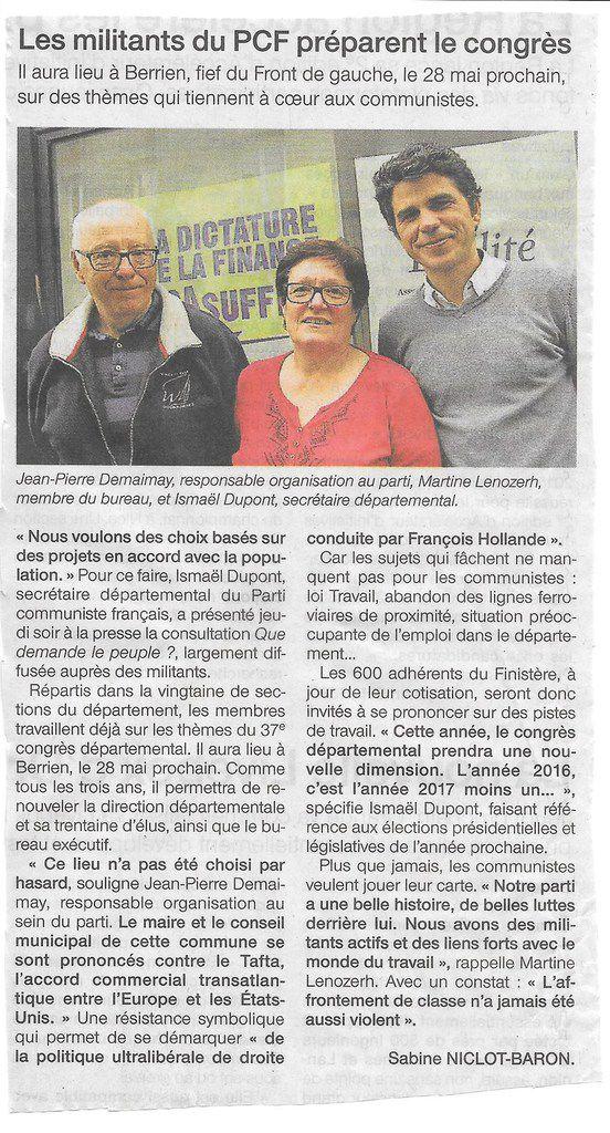 Les militants communistes préparent leur congrès dans le Finistère (Ouest-France, 13 mai 2016)