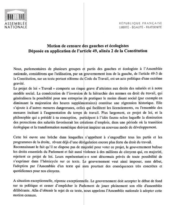 Le Texte de la motion de censure de gauche  Le Texte de la motion de censure de gauche  signée par 56 députés (il fallait 58 signatures pour la déposer)