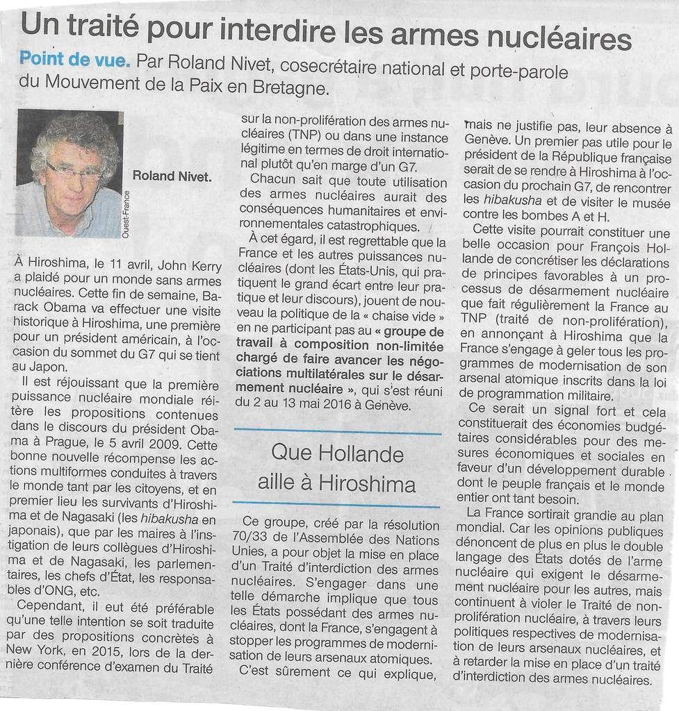 Roland Nivet, Ouest-France - 26 mai 2016