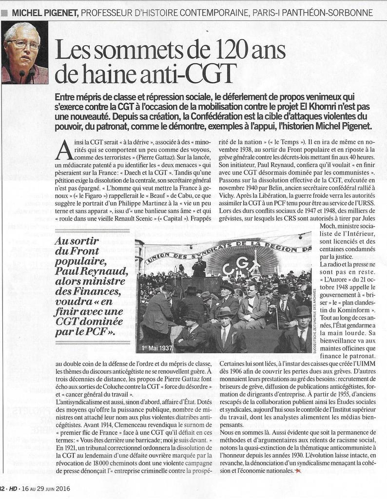 Les sommets de 120 ans de haine anti-CGT par Michel Pigenet (Humanité Dimanche, 16 juin 2016)