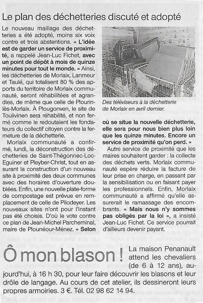 Conseil Communautaire du 4 juillet 2016 (compte rendu du Ouest-France et du Télégramme)
