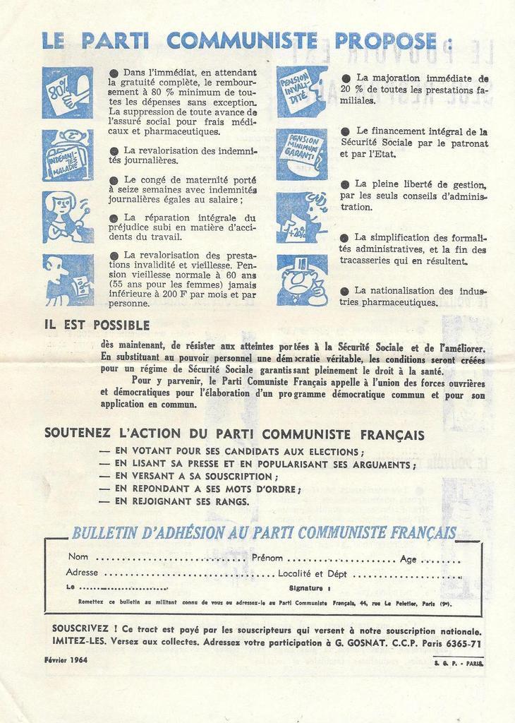Défendre et améliorer la sécurité sociale sociale - tract du PCF, février 1964 (4) - Archives Pierre Le Rose PCF 29