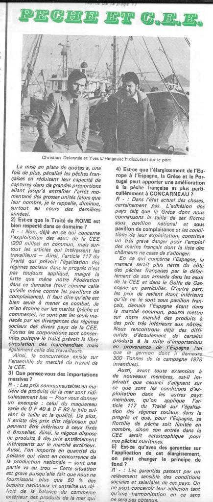Janvier 1979: L'Unité, article sur la pêche et la CEE, la politique des quotas, les prix communautaires
