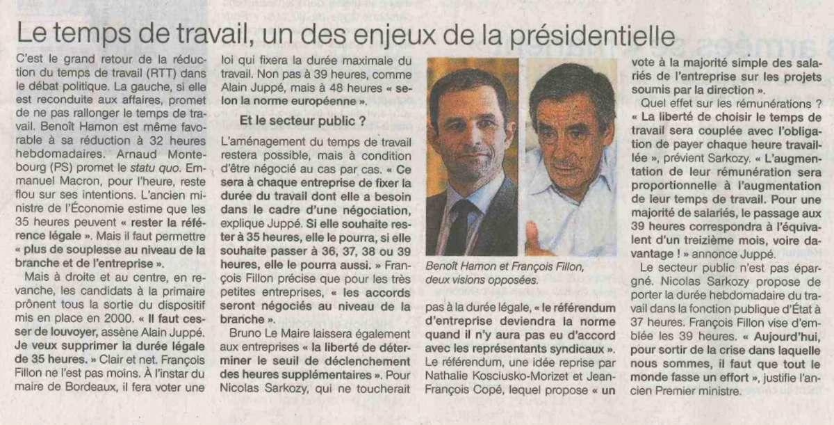 Surenchère à droite sur la durée du travail: les esclavagistes sont de retour! (article Ouest-France, 4 octobre 2016)