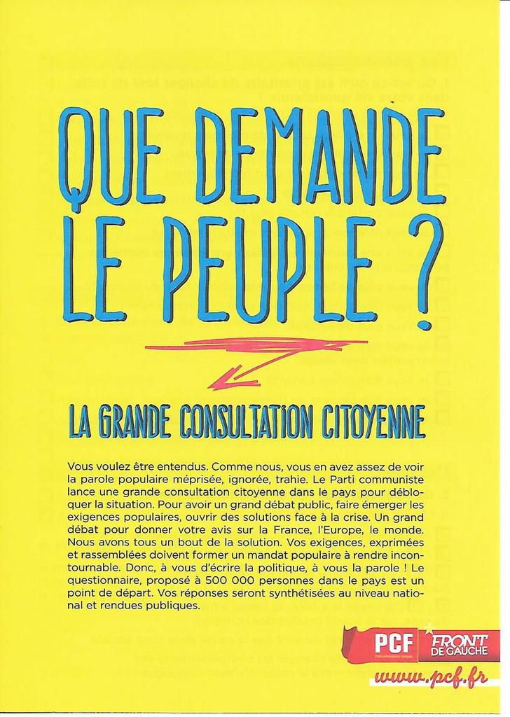 """Réponses au questionnaire de la grande consultation citoyenne """"Que demande le peuple?"""" à Morlaix"""
