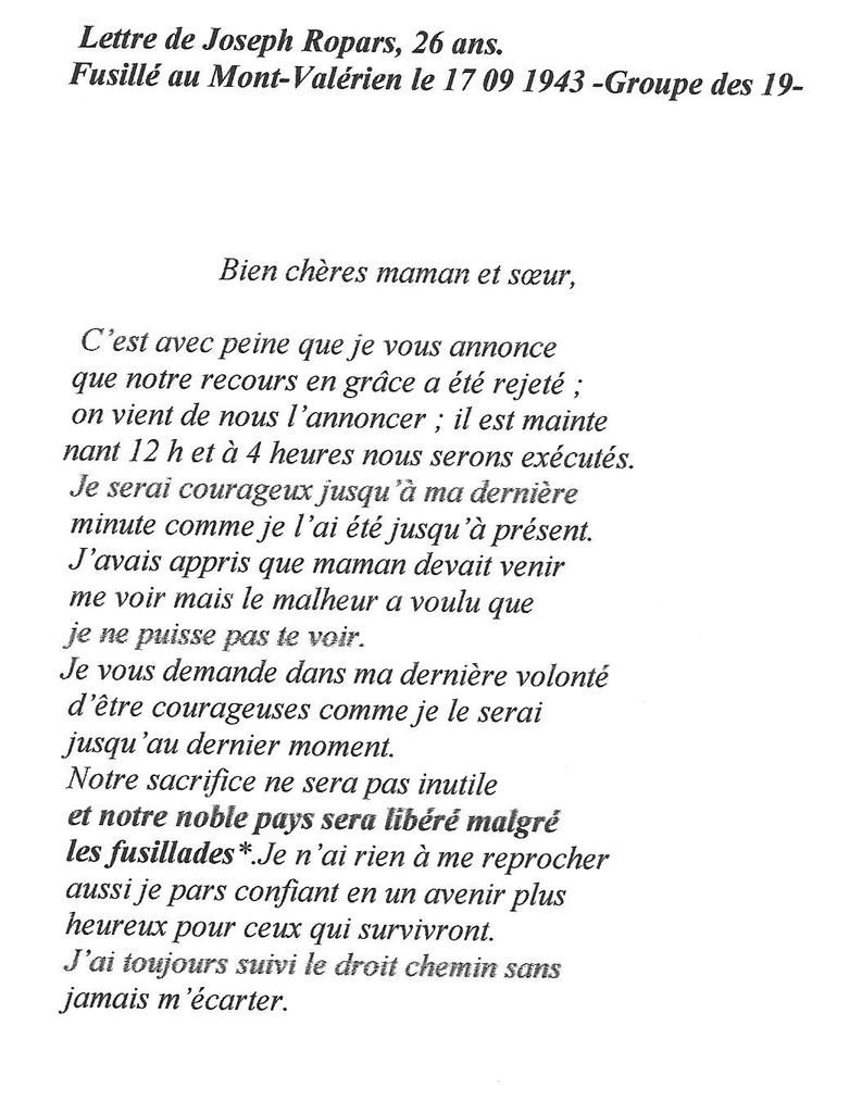 Lettre De Joseph Ropars Résistant Communiste Brestois