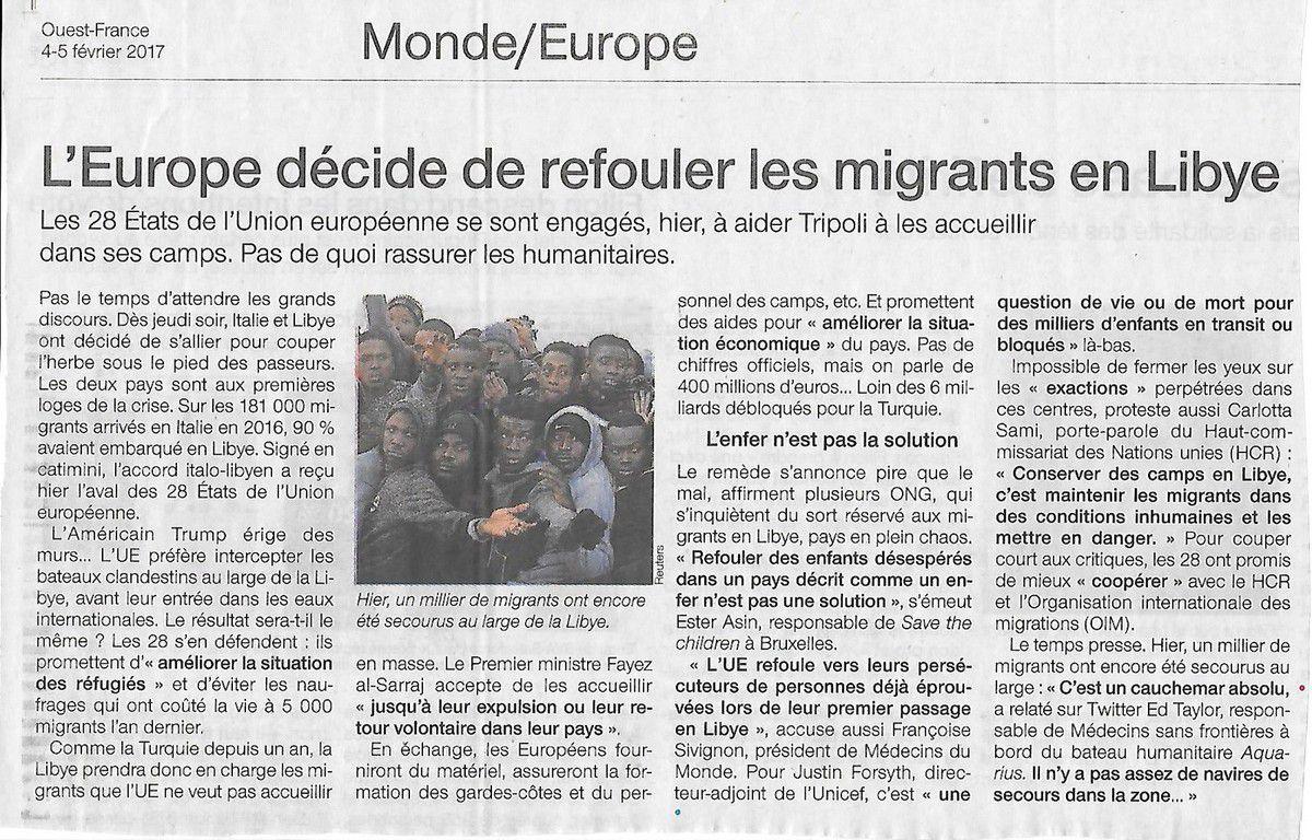 L'Europe décide de refouler les migrants en Libye