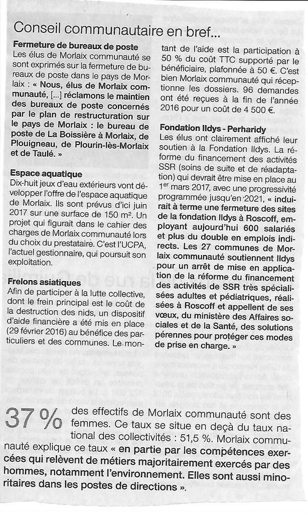 Morlaix Communauté: compte rendu du Conseil Communautaire du 13 février 2017 dans le Ouest-France (Anaïg Dantec)