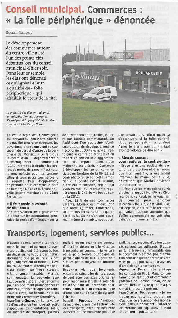 Le Télégramme, 17 mars 2017: conseil municipal de Morlaix du 16 mars 2017