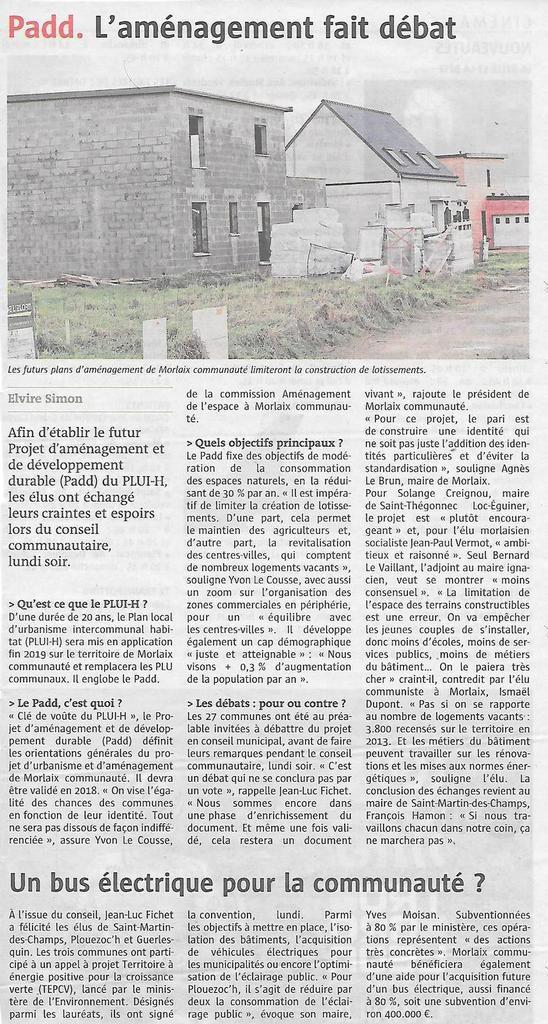 Padd: l'aménagement du territoire de Morlaix Communauté fait débat: Le Télégramme, 22 mars 2017