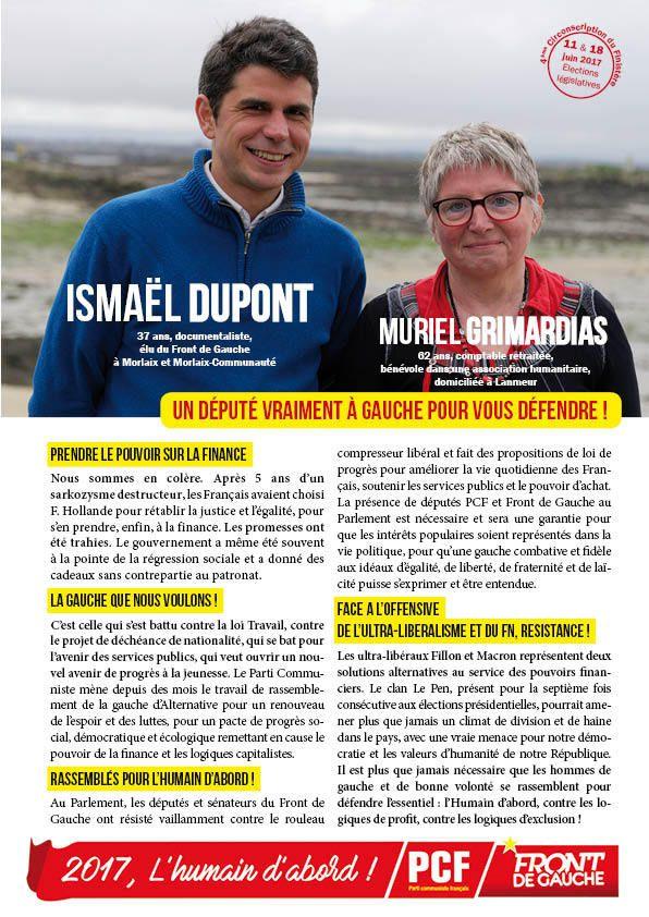 Ensemble pour l'Humain d'abord! Législatives 2017: tract de campagne de Ismaël Dupont et Muriel Grimardias, candidats PCF-Front de Gauche dans la circonscription de Morlaix