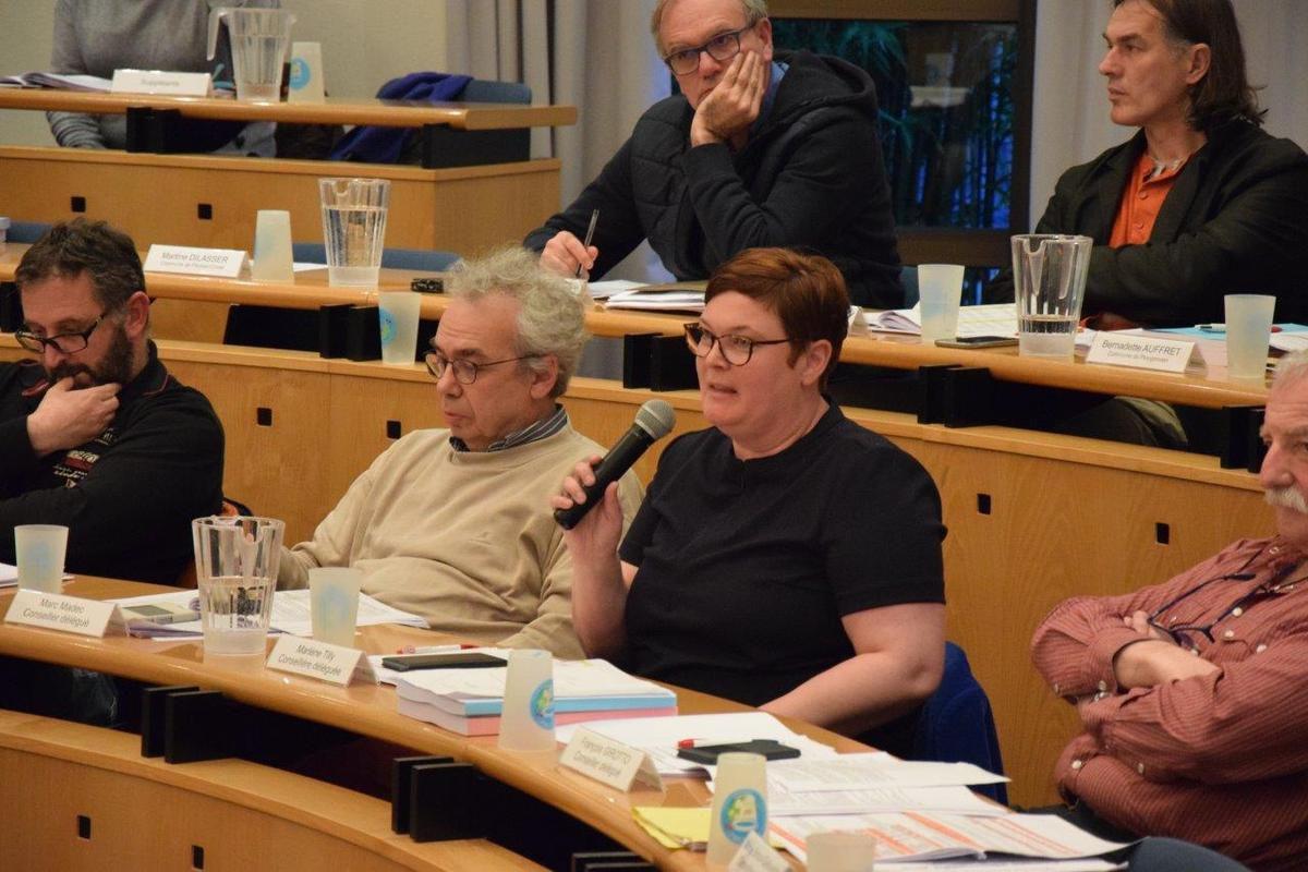 Marc Madec et Marlène Tilly (majorité morlaisienne, conseillère déléguée au logement) au micro