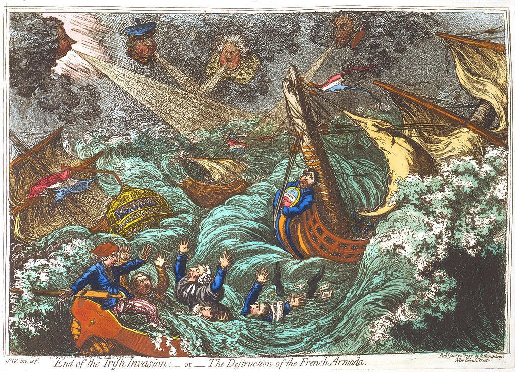 End of the Irish Invasion- the Destruction of the French Armada (gravure de James Gillray).