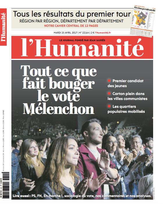 L'Humanité du 25 avril: tout ce qu'a fait bouger le vote Mélenchon
